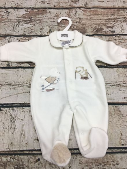 Ivory Velour Sleepsuit